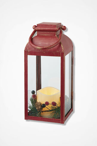 Yesteryear Holiday Lantern, Red, large