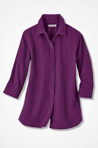 Three-Quarter Sleeve Easy Care Shirt, Currant, large