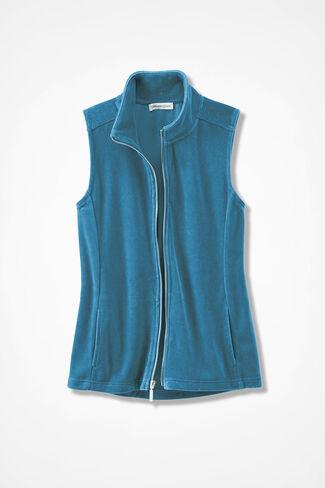 Velour du Jour Vest, Mallard Blue, large