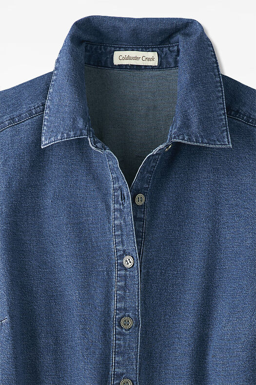 Roll-Sleeve Denim Dress, Medium Blue Wash, large