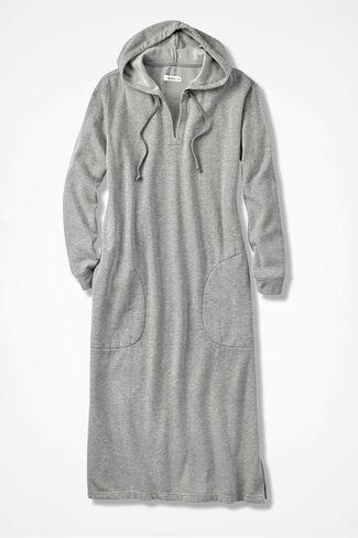 Hooded Fleece Lounger, Heather Grey, large