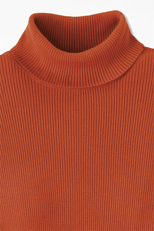 Ribbed Turtleneck Sweater, Bittersweet, large