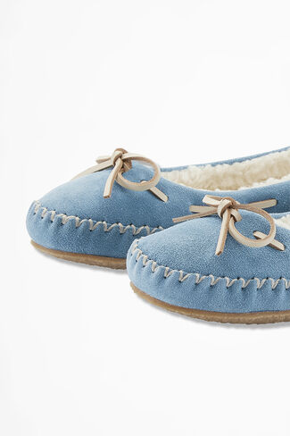 """""""Sonora"""" Suede Slippers by Walk With Me™, Lagoon, large"""