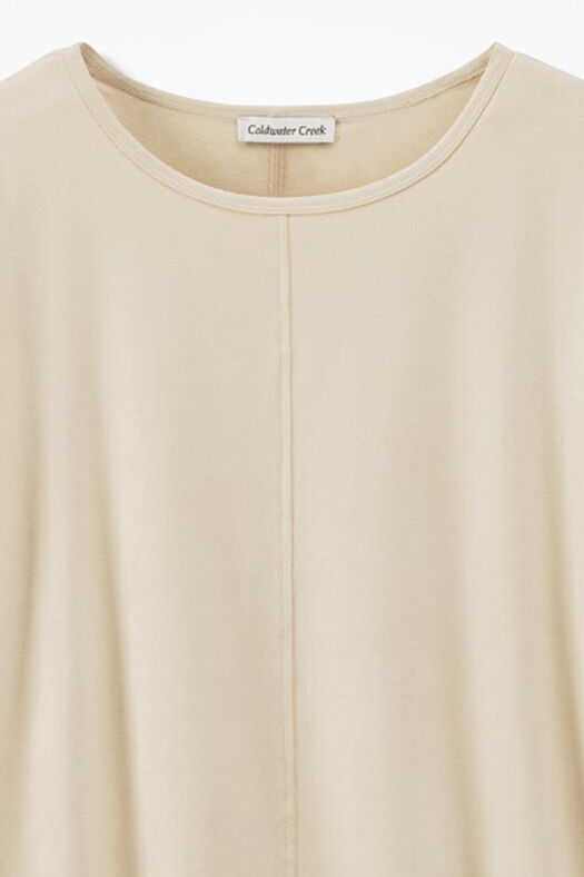 Suede-Touch Stretch Tee, Vanilla, large