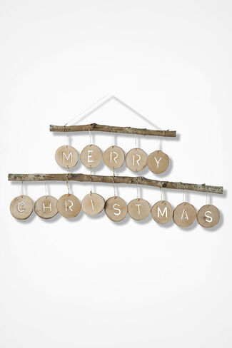 Hanging Branch Merry Christmas Sign, Natural, large
