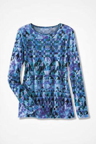 Modern Mosaic Tee, Blue Multi, large