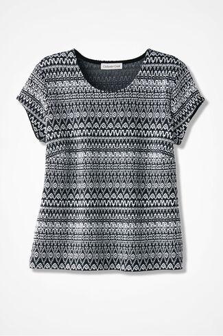 Artful Jacquard Knit Top, Black/White, large