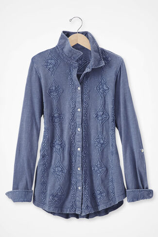Medallions in Line Button-Front Embroidered Tunic, Blue Indigo, large img