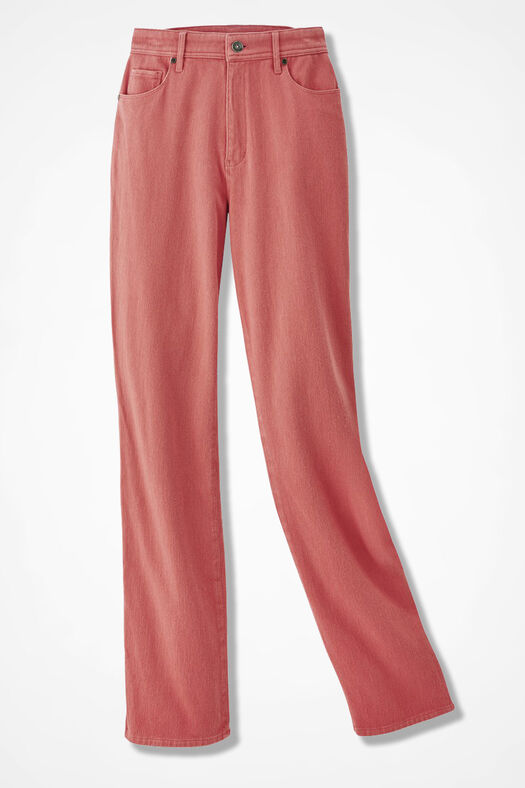 Knit Denim Straight-Leg Jeans, Washed Coral, large
