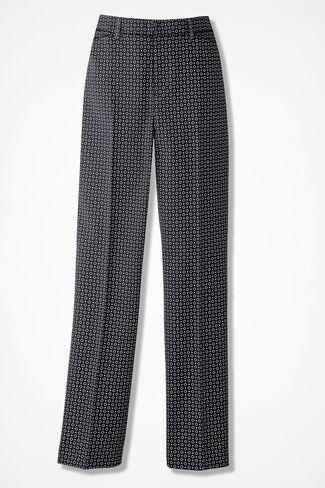 Modern Microfiber Foulard Pants, Black Multi, large