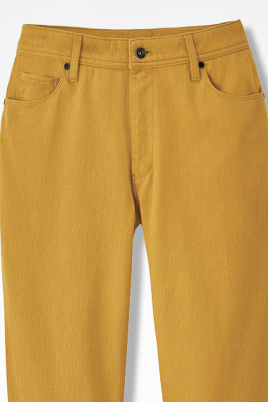 Knit Denim Straight-Leg Jeans, Saffron, large