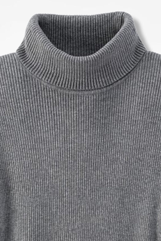 Ribbed Turtleneck Sweater, Mid Heather Grey, large