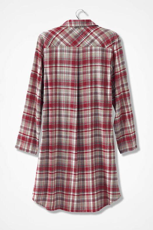 Plaid Flannel Sleep Shirt, Dover Red, large