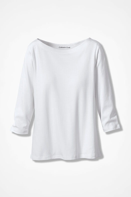 Essential Supima® Boatneck Tee, White, large