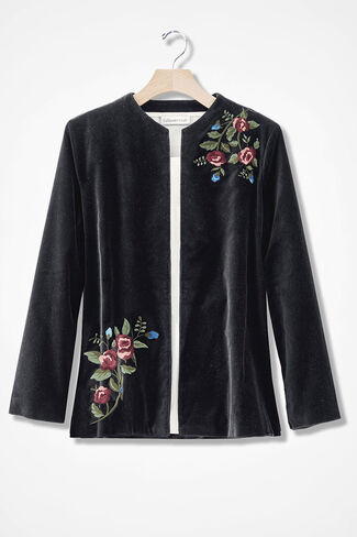 Velvet Embroidered Jacket, Black, large