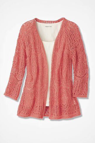 Open Crochet Cardigan, Coral Rose, large