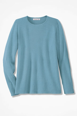 Long Sleeve Ribbed Sweater, Robins Egg, large