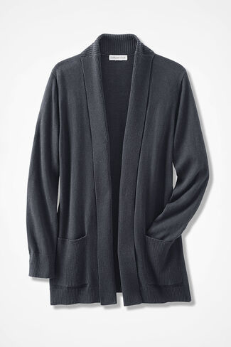 Mixed-Rib Open Cardigan, Black, large