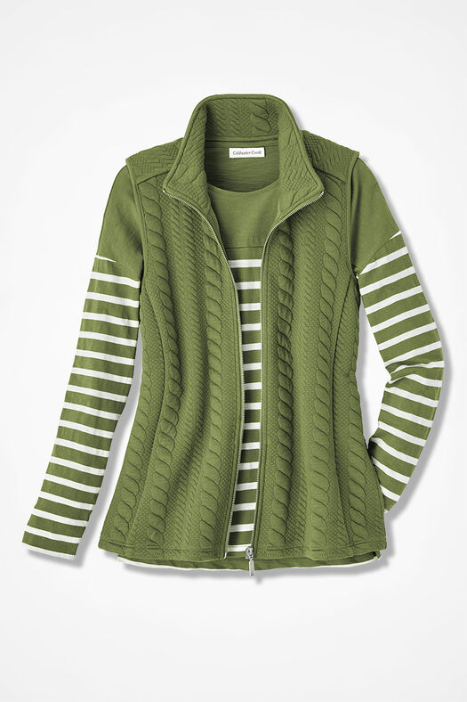 Curved-Hem Cabled Vest, Ivy, large