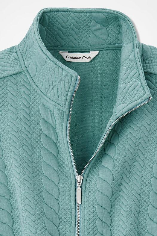 Curved-Hem Cabled Vest, Aqua, large