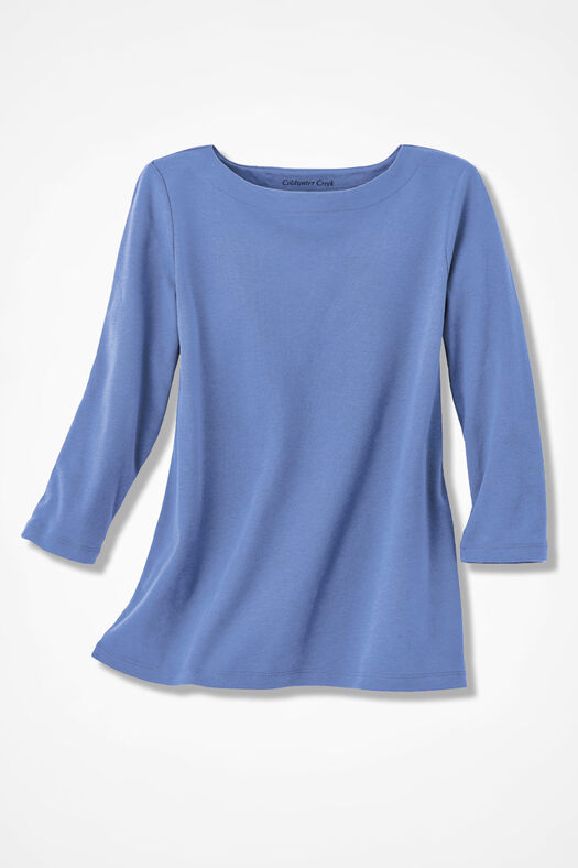 Essential Supima® Boatneck Tee, French Blue, large