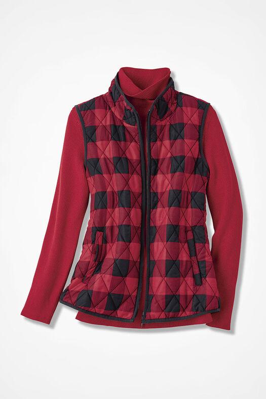 Buffalo Plaid Vest for All Seasons, Black/Fresh Red, large