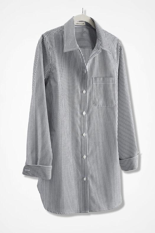 Anytime stripe no iron tunic coldwater creek for No iron white shirt womens