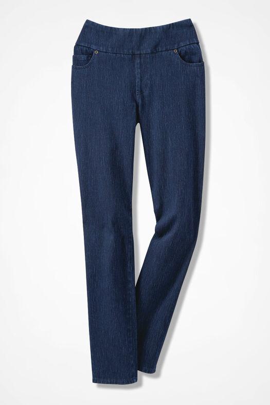 Knit Denim Pull-On Slim-Leg Jeans, Dark Wash, large