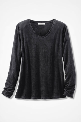 Suede-Touch Soft V Tee, Black, large
