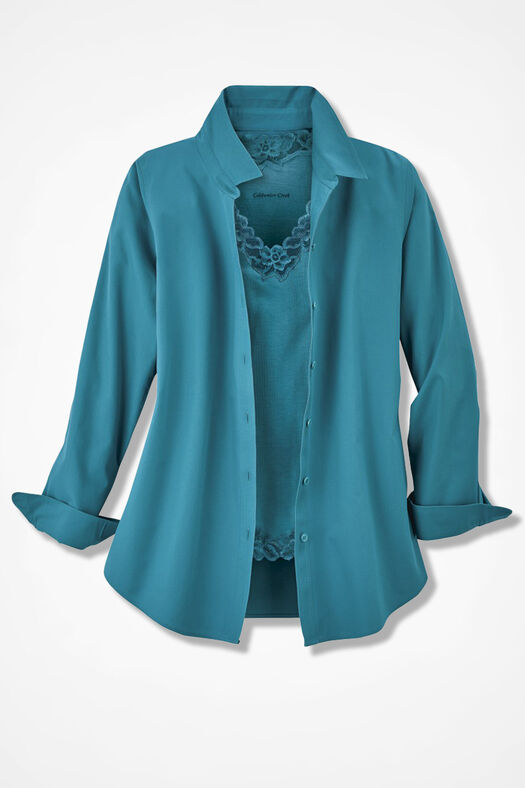 Long-Sleeve Easy Care Shirt, Cerulean, large