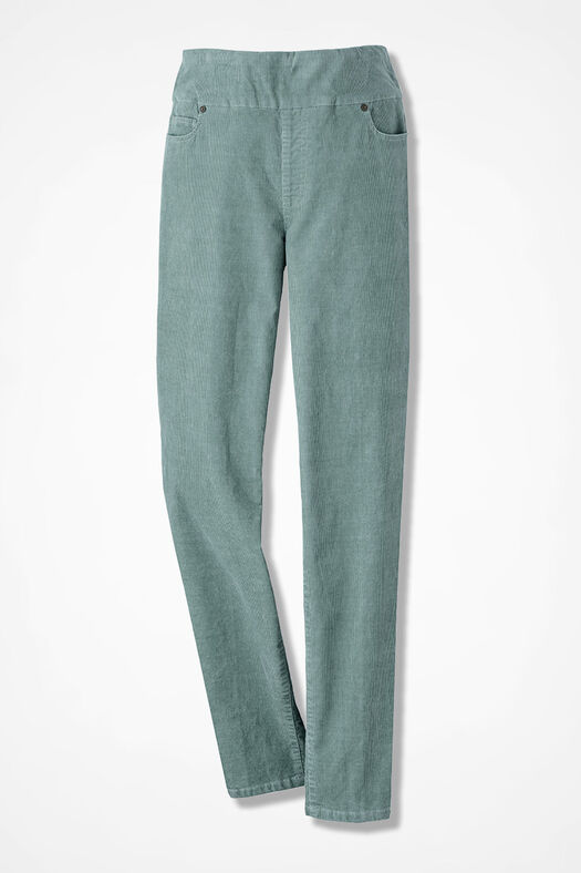 Pinwale Pull-On Stretch Corduroys, Dusty Sage, large