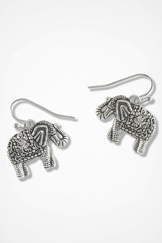 Unforgettable Elephant Earrings, Silver, large