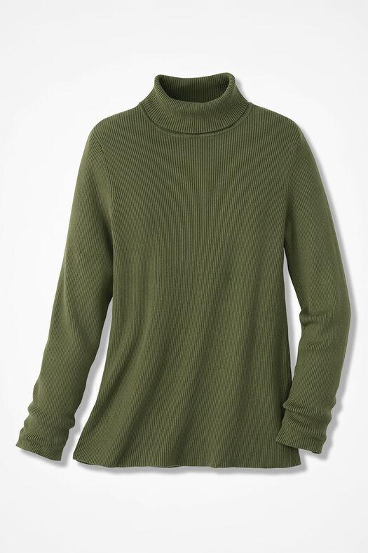 Ribbed Turtleneck Sweater, Cypress, large