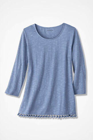 Pompom-Hem Knit Tunic, Dusty Blue, large
