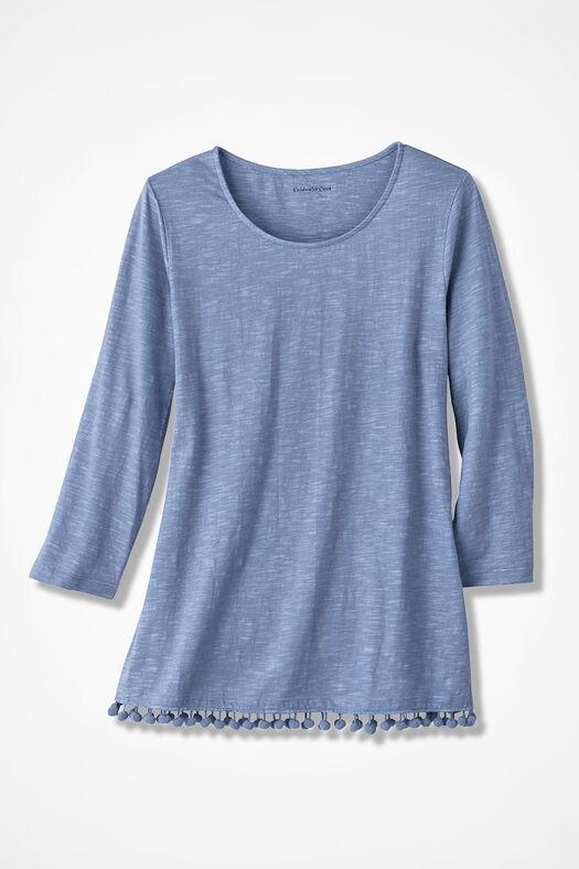 Pompom-Hem Knit Tunic, Dusty Blue, large