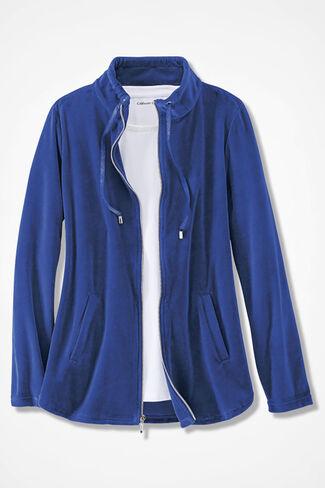 Velour du Jour Shirttail Jacket, Sapphire, large
