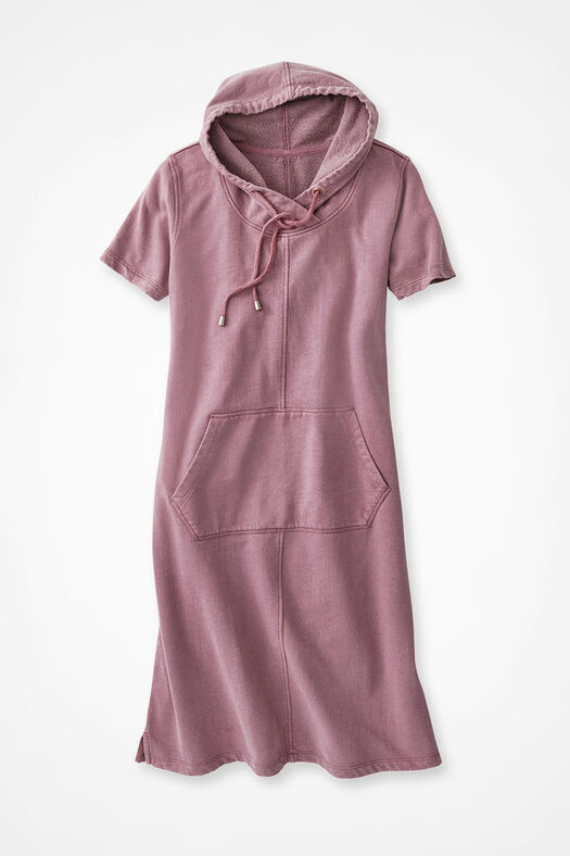 image of Fresh Breezes Hooded Fleece Dress, Wild Orchid 0