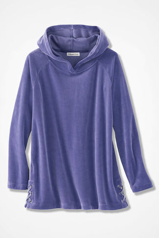 Velour du Jour Side-Laced Hooded Pullover, Thistle, large