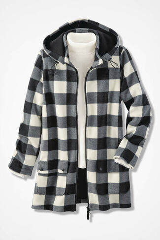 Buffalo Check Polar Fleece Coat, Black Multi, large