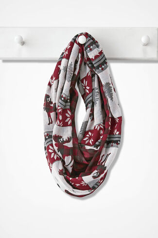 Winter Woods Infinity Scarf, Red Multi, large