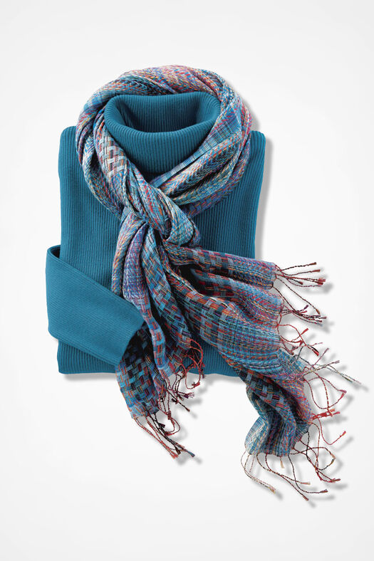 Ribbed Turtleneck Sweater, Mallard Blue, large