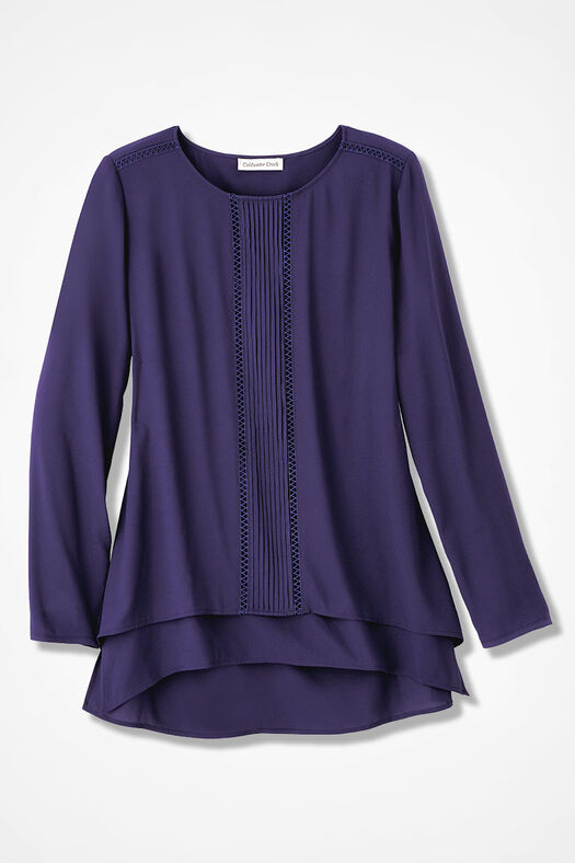 Pleat-Front Tunic, Deep Violet, large