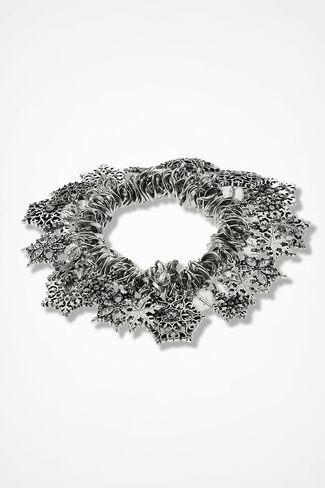 Snowflake Stretch Bracelet, Silver, large