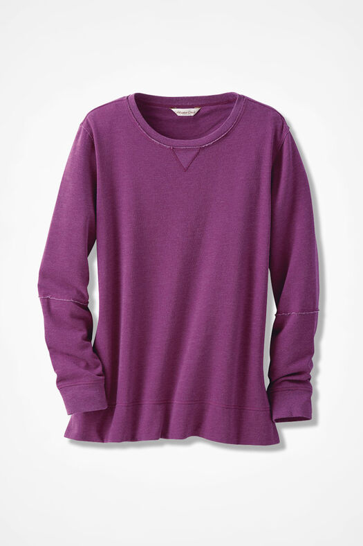 Colorwashed Fleece Pullover, Currant, large