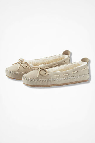 """""""Sonora"""" Suede Slippers by Walk With Me™, Ivory, large"""