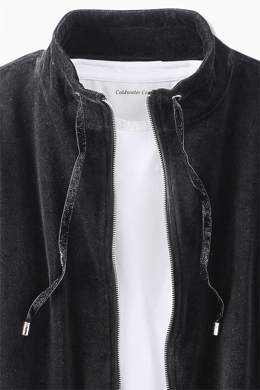 Velour du Jour Shirttail Jacket, Black, large