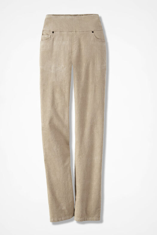 Pinwale Pull-On Stretch Corduroys, Sand, large