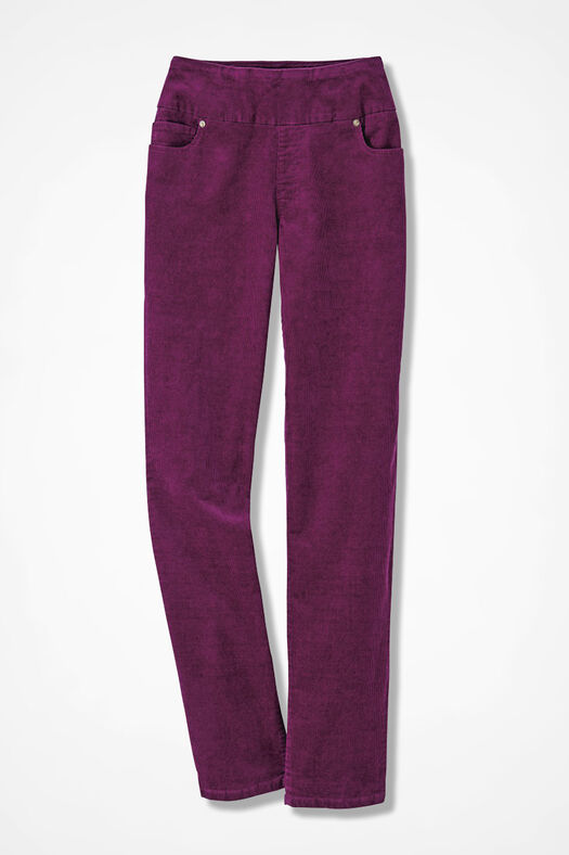 Pinwale Pull-On Stretch Corduroys, Mulberry, large