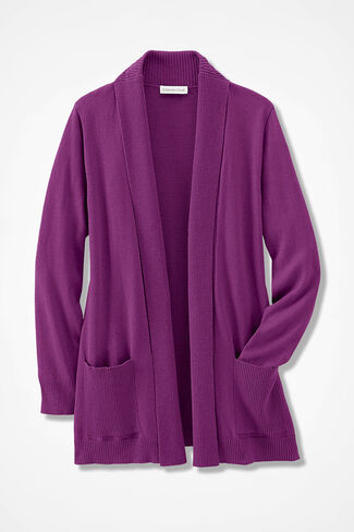 Mixed-Rib Open Cardigan, Currant, large