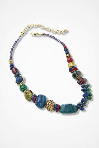 Color Montage Necklace, Blue Multi, large